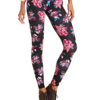 Cotton Floral Printed Leggings by Charlotte Russe - Black Multi