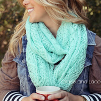 Lace Knit Scarf - MINT lace scarf - infinity scarf - mohair scarf - lacey scarf - knitted scarf - mint scarf - infinity lace scarf