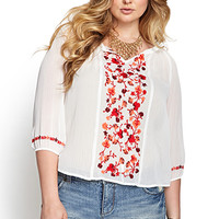 FOREVER 21 PLUS Embroidered Floral Peasant Top Ivory/Red