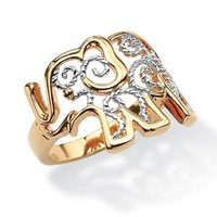 PalmBeach Jewelry Filigree Elephant Ring in 18k Gold-Plated