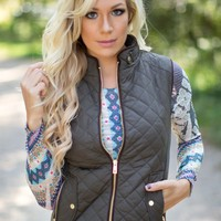 Catch You Later Fleece Lined Vest in Olive