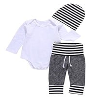 3 Pcs born Toddler Kids Baby Boys Outfit Clothes Solid White Bodysuit Onesuit+ Pants+Hat Set Clothing