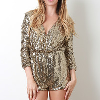 Metallic Sequin Long Sleeve Romper