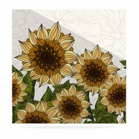 """Art Love Passion """"Sunflower Field"""" Beige Yellow Luxe Square Panel"""