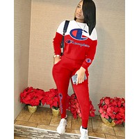 Champion new women's embroidery letter long sleeve sports suit two-piece red