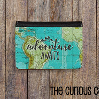 Passport Cover Adventure Awaits Vintage Map Passport Case Passport holder Vegan Friendly