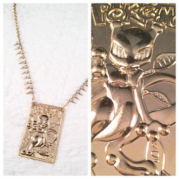 Gold Mewtwo Necklace