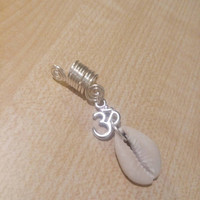 Ohm om namaste cowrie shell symbol loc charms dreadlock accessories hair falls dread jewelry silver wire adornment