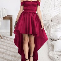 New Burgundy Pleated Irregular Off Shoulder Backless High-low Homecoming Elegant Party Maxi Dress