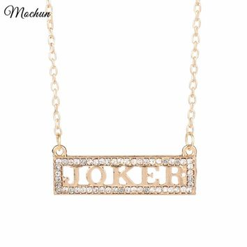 MQCHUN Harley Quinn Loves the Joker Charm Necklace Suicide Squad Pendant Necklace Rose Gold Color Jewelry For Movie Fans Gift