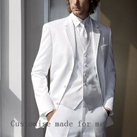 2016 Man Classic Suit Custom Made White Men Suits For Wedding Groom Tuxedos For Men Suit Bridegroom(Jacket+Pants+Vest+Tie)