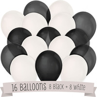 Black and White - Birthday Party Latex Balloons - 16 ct