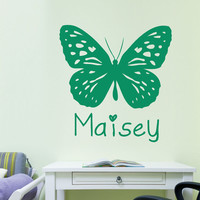 DIY Home Decoration Personalised Girl's Butterfly Bedroom Study Wall Sticker PVC Baby Name Decal Vinyl Stickers