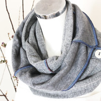Grey Herringbone, Gray Men's Scarves, Button infinity scarf, gray wool scarf, Double-sided woolen scarf, hood Man, unisex gray tube scarf
