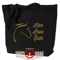 Live Love Ride Equestrian Tote Bag - Zippered Black Horse Totes - Black Bags With Zipper, Overnight, Carry-on