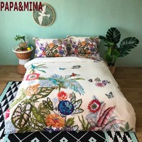 Papa&Mima garden print Egyptian cotton bedlinens Queen King size bedding set duvet cover flat sheet pillowcases