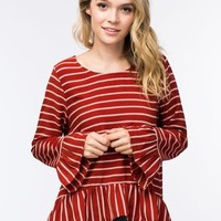 Striped Ruffle Hem Blouse
