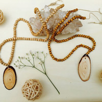 Adjustable Wood Diffuser Aromatherapy To Go Necklace Hand Crafted with Hemp Twine and Light Natural Beads (Plain)