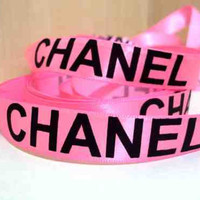 1 Yard 5/8 Pink with big black lettering CC inspired satin ribbon hairbow supplies