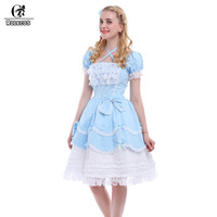 ROLECOS New Blue/Pink Sweet Lolita Dresses Women Gothic Maid Cosplay Costume Ball Gown Vintage Bowknot Dress GC133