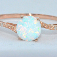 Opal Diamond Ring 14Kt Yellow Gold Plated