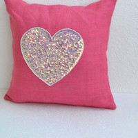 Pink Burlap Pillow with Sequins Heart pillow cover  16X16 inches cushion cover Valentine gift decor Easter decor st. patrick day