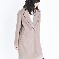 Mink Longline Collared Coat | New Look