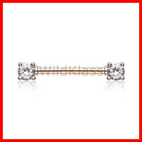 Rose Gold Double Gem Nipple Barbell Ring