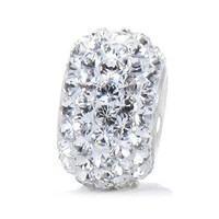 Bella Fascini Clear White Crystal Pave Bead Charm 925 Sterling Silver Fits Compatible European Bracelets