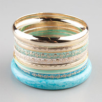 Full Tilt 8 Piece Marble/Etched Bracelets Turquoise One Size For Women 23452424101