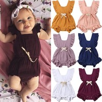 0-24M Cute Baby Girls Cotton Romper Backless Newborn Infant Baby Girl Ruffles Romper Summer Sleeveless Jumpsuit Outfits Playsuit