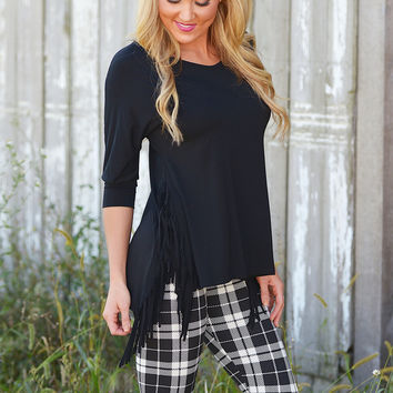 Come And Get It Fringe Top - Black