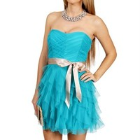 Ocean/Champagne Cascade Prom Dress