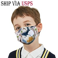 Ship Via USPS 5-Layer PM2.5 Activated Carbon Filter Kids Mouth Mask With Valve| Meets N95 Reusable Anti Flu/Haze/Dust/Fog Respirators Mask Children