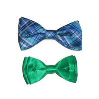 Silver Studded Spike Hair Bow Green or Blue Plaid Womens Hair Accessory