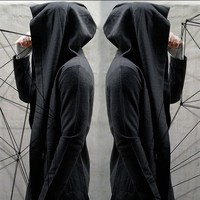 Cool New 2017 Men Hooded Cardigan Black Gown Sudaderas Hombre Hip Hop Hoodies Cloak Jackets Trench Gothic Punk Outerwear Coats