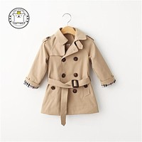 New Autumn 2017 Children Clothing 100% Cotton Classic Kid's Wind Coat Standing Collar England Style Double-breasted Suit