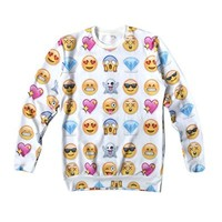 Women's Sweaters EMOJI Network expression 3D Hoodies Galaxy Sweatshirts Medium White