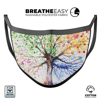 Abstract Colorful WaterColor Vivid Tree - Made in USA Mouth Cover Unisex Anti-Dust Cotton Blend Reusable & Washable Face Mask with Adjustable Sizing for Adult or Child
