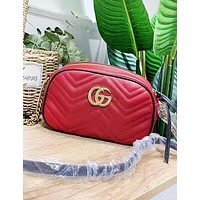 GUCCI New fashion leather shoulder bag women Red