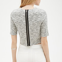 Marled Knit Zippered Crop Top