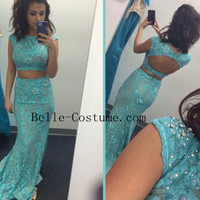Two Piece Prom Dress, Junior Prom Dress, Backless Prom Dress, Lace Long Prom Dresses