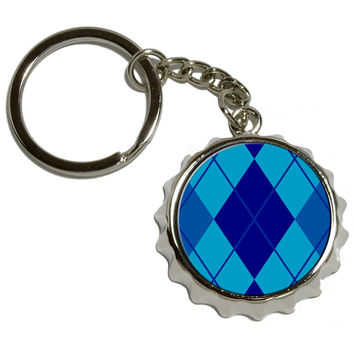 Argyle Hipster Blue Pop Cap Bottle Opener Keychain