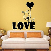 Wall Stickers Puppy Love Dog Balloon Romantic Gift Vinyl Decal Unique Gift (ig290)
