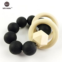 Let's Make Silicone Beads Teether Wooden Teether Baby Bracelet  Nature Safe Organic  Infant Toy Toy