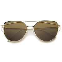 Women's Oversize Thin Temple Flat Lens Sunglasses A544