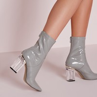 Missguided - Perspex Patent Heel Ankle Boots Grey