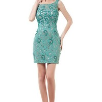 Short Lace Evening Prom Cocktail Dresses for Formal Wedding Party (Teal)