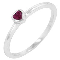 Ruby Red Heart Solitaire Ring