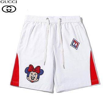 GUCCI & Disney New fashion embroidery letter mouse couple shorts White